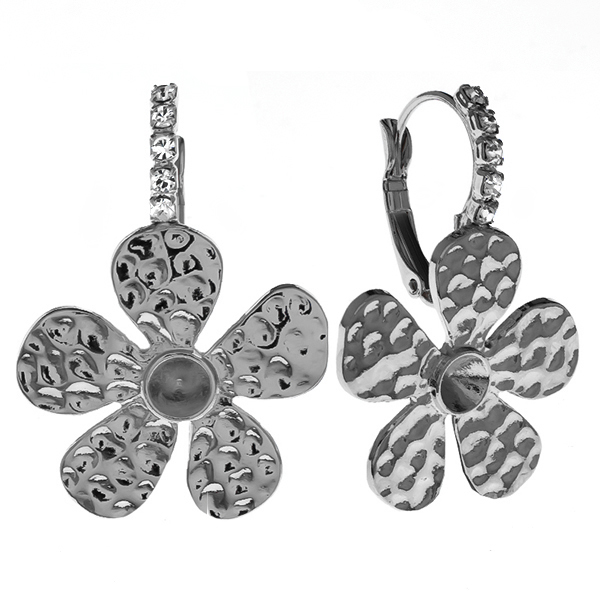 24ss metal stamping Flower Lever back earrings with Rhinestones