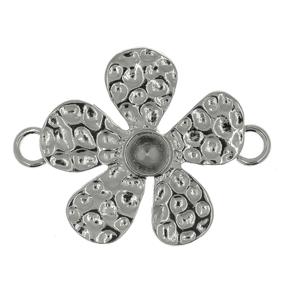 24ss metal stamping Flower Connector/Pendant with two side loops