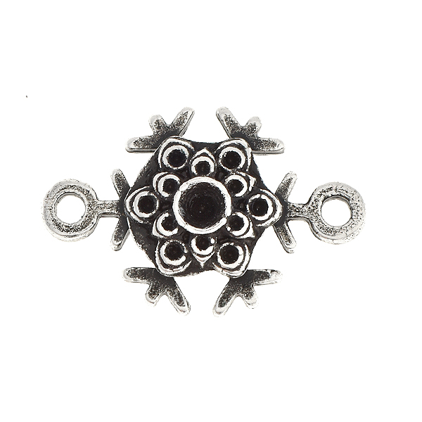 24pp Metal casting snowflake connector base with two side loops