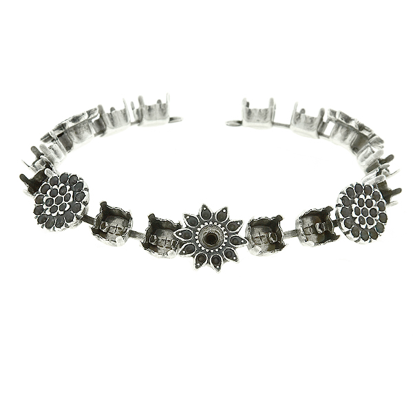 8pp and 32pp metal casting Daisy Flower elements on 29ss cup chain Bracelet base