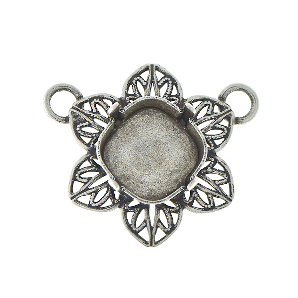 12x12mm Square Filigree flower pendant base with two top loops