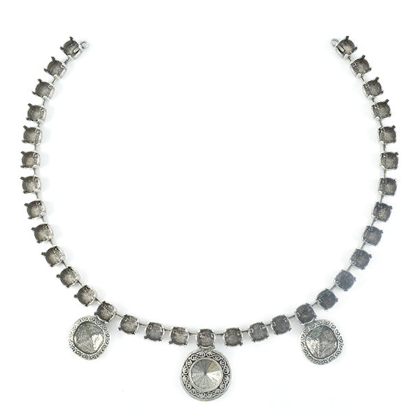 Decorated 12-12mm Square with 12mm Rivoli and 39ss Necklace base -33 settings