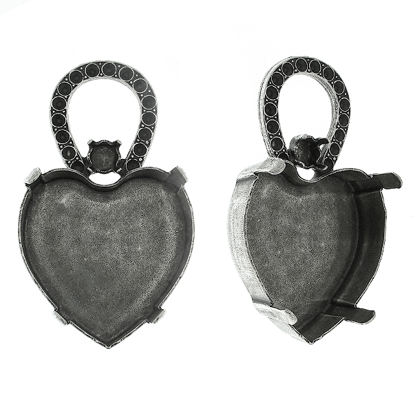28mm Heart 4827 setting with metal casting horse shoe element Pendant base