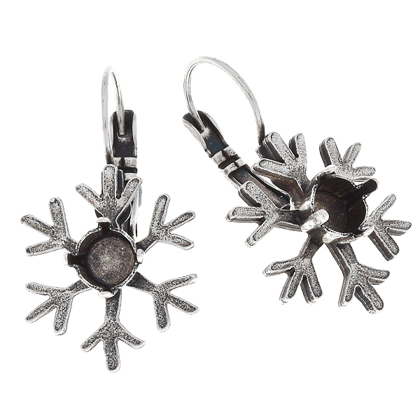 29ss Metal casting snowflake Lever back earring bases