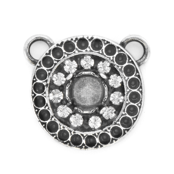 8pp, 29ss Round Pendant base with Rhinestones and two top loops