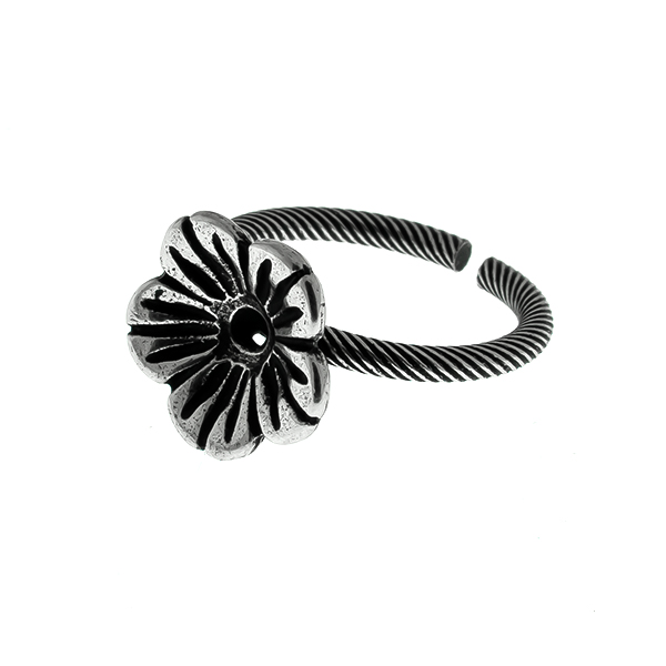 24ss Buttercup Flower metal casting twisted adjustable ring base