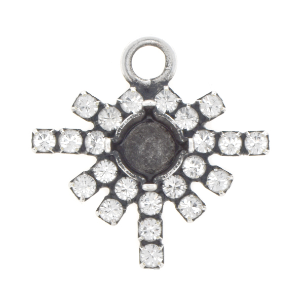 29ss Snowflake with Rhinestones Pendant base with top loop
