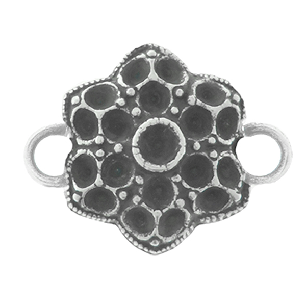 24pp, 32pp Big Decorative Flower metal casting Connector base with two side loops