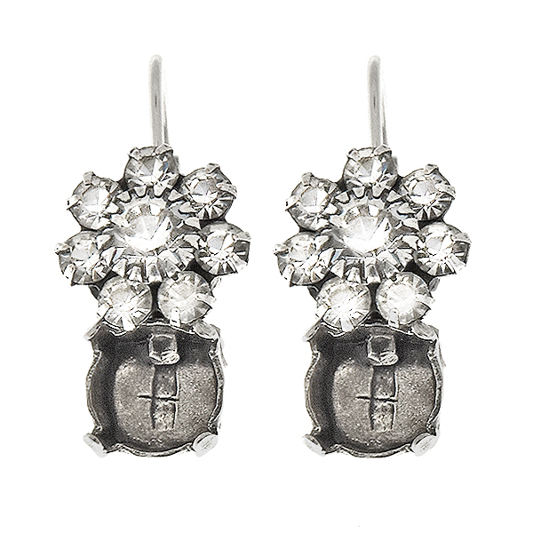 39ss and arovski Crystal color crown setting Flower Lever Back Earring bases