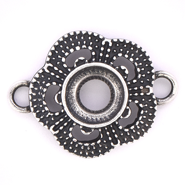 39ss/8mm open back Flower jewelry connector with two side loops