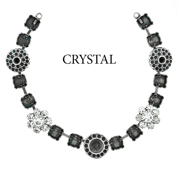 29ss cup chain and casting elements Necklace center piece with Swarovski flower elements Crystal color