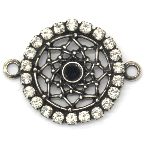 24pp Round Pendant base with crystals