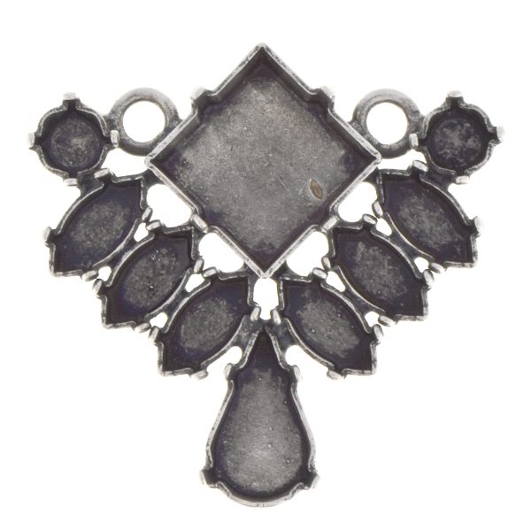 Chaton, Navette, Teardrop, Princess Square Pendant with two loops