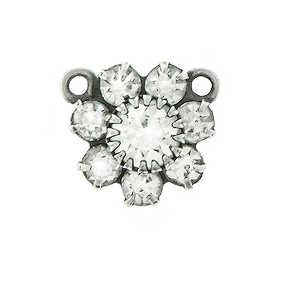 Swarovski Crystal color crown setting Flower Pendant base with two top loops