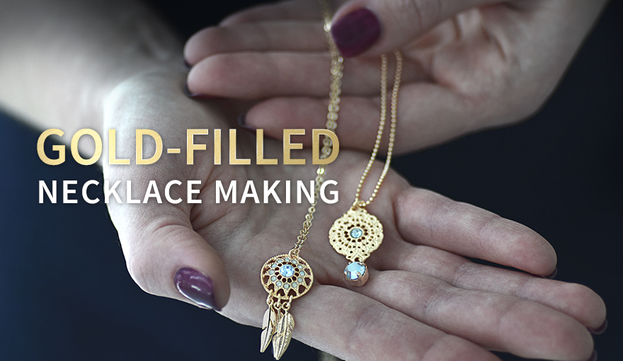 Gold-filled and metal pendant jewelry collection
