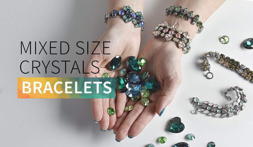 Mixed size crystal bracelets - color combinations