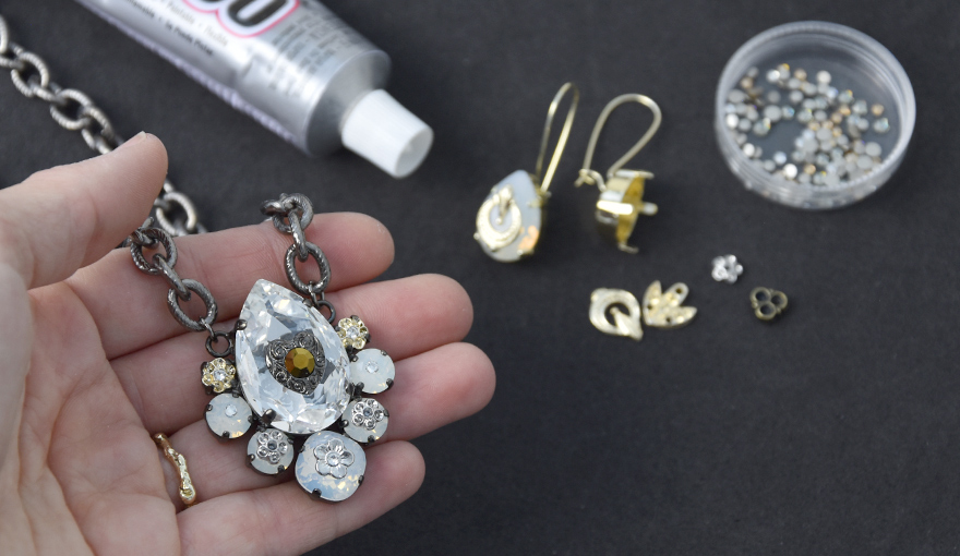 Upgrading jewelry with metal parts and Flatback crystal DIY