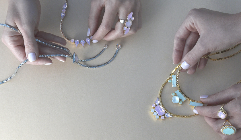 Elegant wheat chain necklaces with crystals