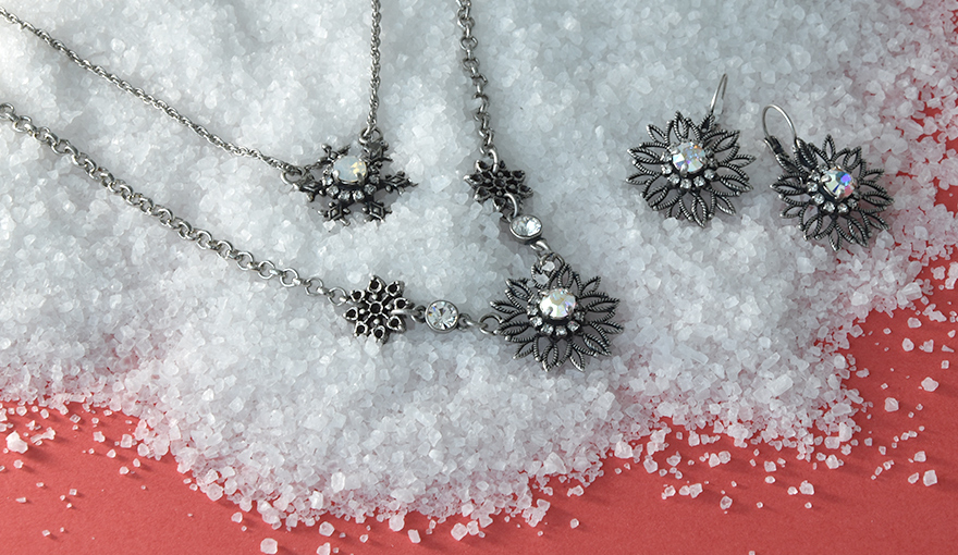 The new snowflake jewelry collection with SW rhinestone