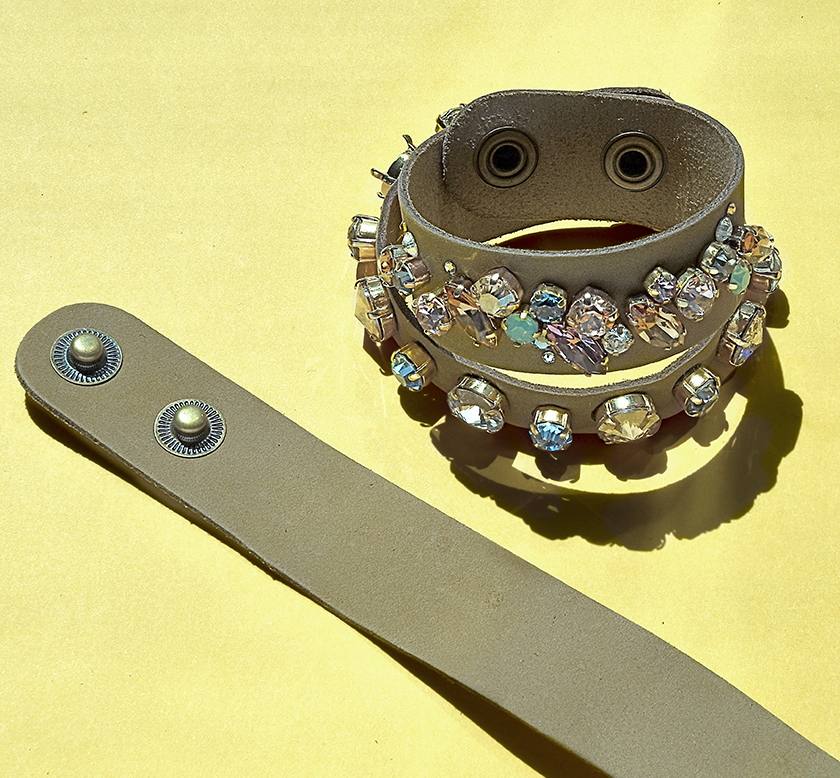 DIY with Swarovski crystals and natural leather cuff bracelets.