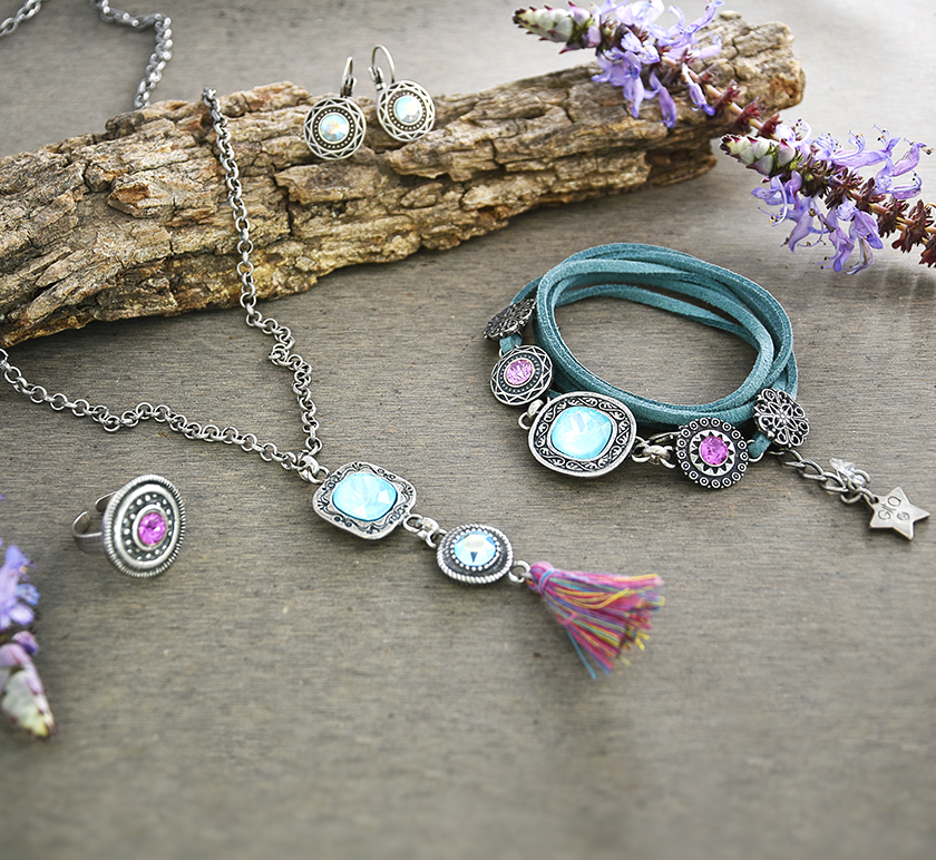 Decorated Metal Casting Elements with Swarovski Crystals