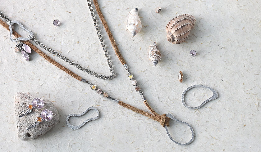 Fresh Ideas with natural leather cord, connectors and Swarovski Crystals.