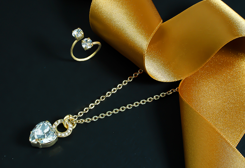 Stylish and new ideas for Love Collection in Yellow Gold plating with Swarovski Crystals