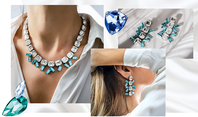 Inspiration with Baguette/Octagon cup chain Set of Jewelry in Icy-cold color sparkles of Swarovski Crystals