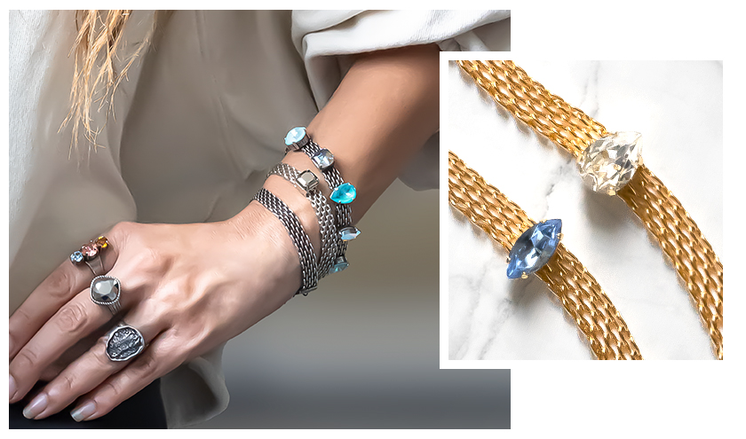 Inspiration with flat mesh chain and Swarovski Crystals