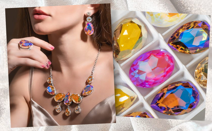 Fancy Statement Jewelry with New Multi-color Aurora Crystals