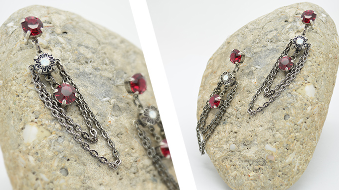 39ss Drop earrings combines with 3.7-3mm oval loops chains