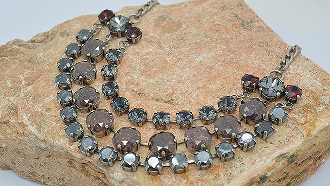 Center Piece For Necklace with Sarovski stones combined with Glass Stones