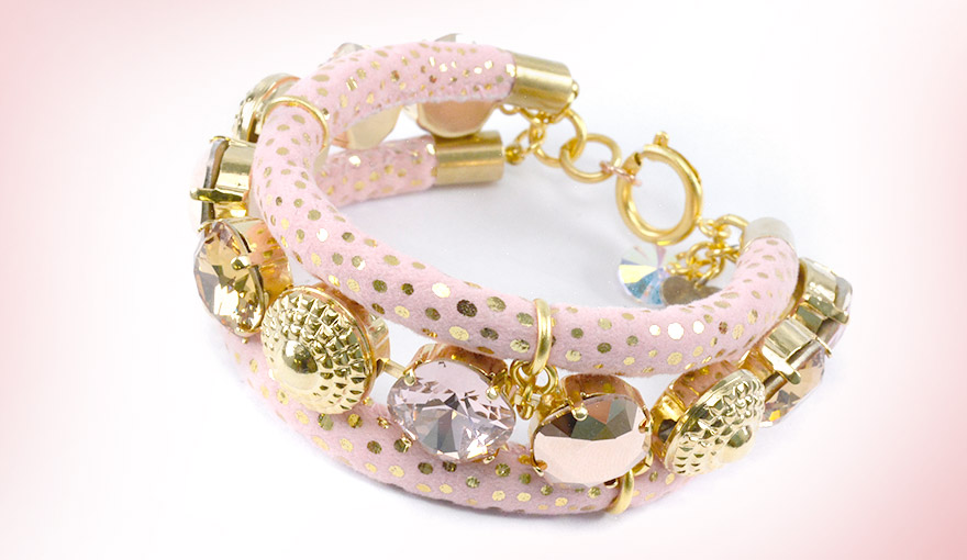 Rose and gold leather bracelet