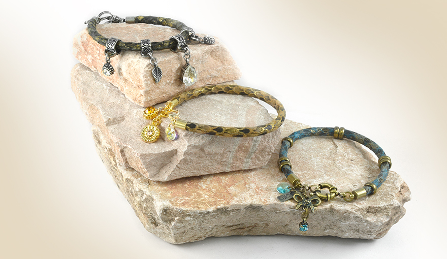 Leather bracelets with charms
