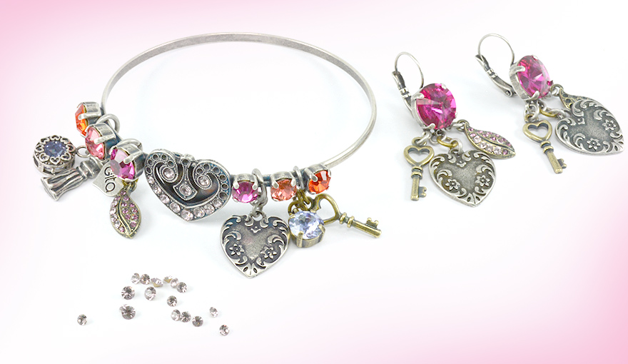 Love charms bracelet and earrings