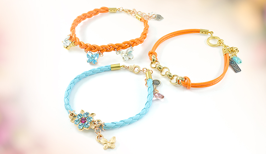 Simple leather bracelets with charms