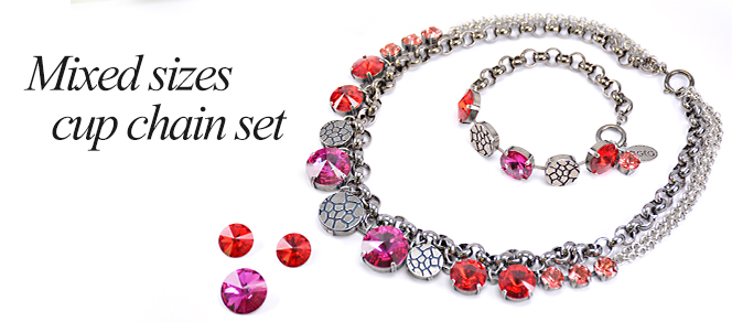 Mixed sizes cup chain set