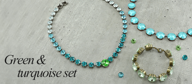 Green and turquoise jewelry set