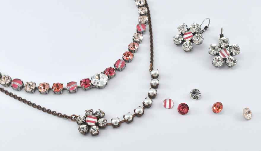 Red stripes cabochons and crystals jewelry inspiration