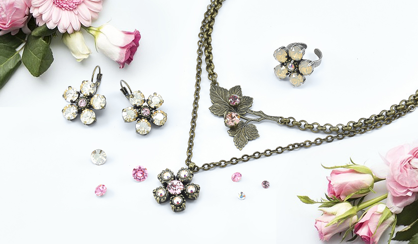 Golden crystal flowers jewelry inspiration