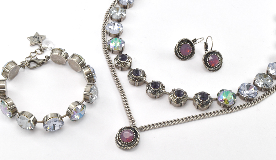 Lavender crystals jewelry set inspiration