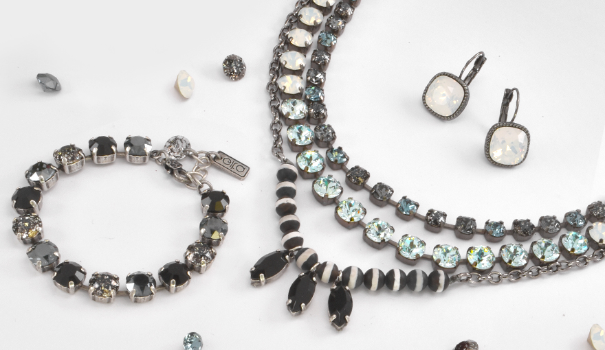 Three layer necklace with dark crystals and beads inspiration