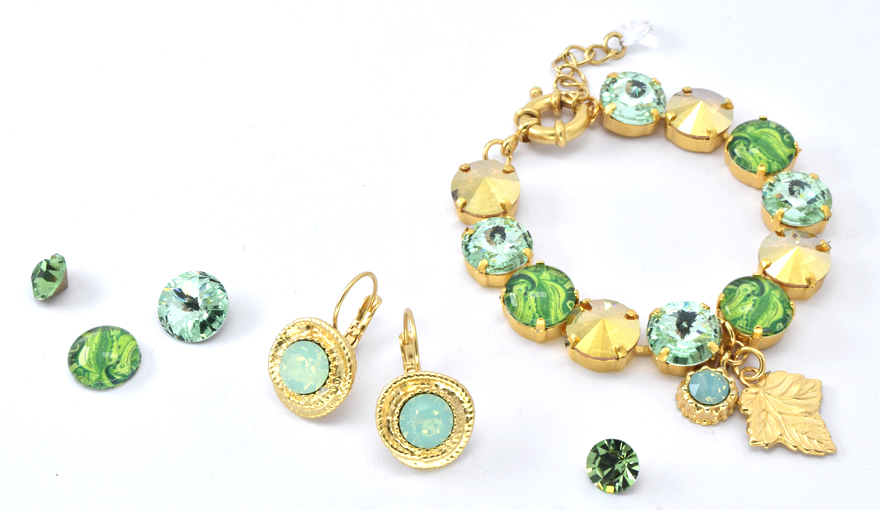 Green and Gold crystal jewelry inspiration