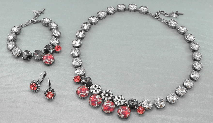 Romantic Red Roses & SW crystal jewelry set