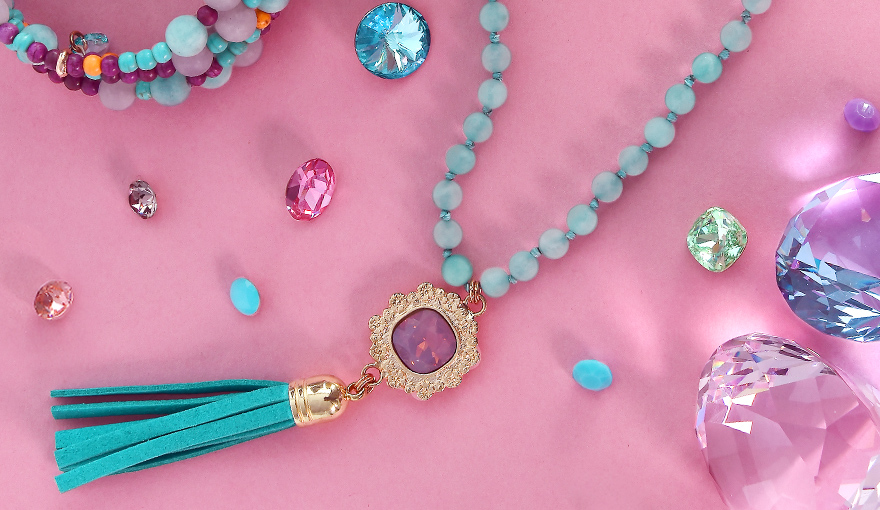 Turquoise beads tassel necklace step by step tutorial