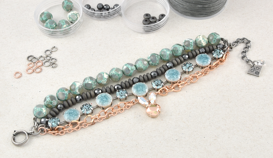 Beads, ceramic cabochons and a cute bunny layered bracelet