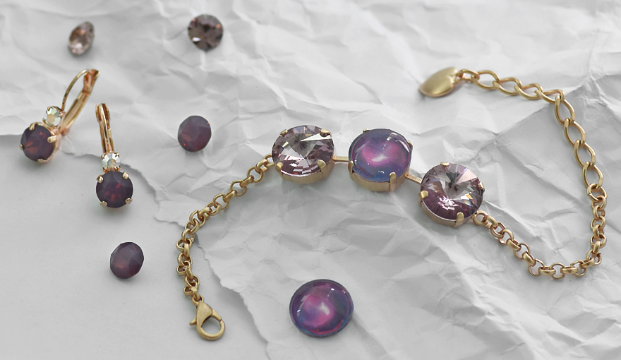 Young style jewelry set with Amethyst SW crystals