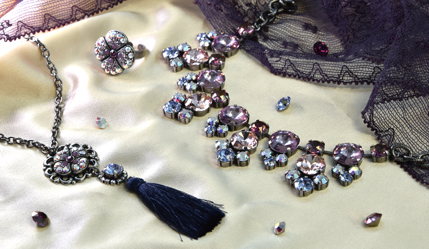 Fancy jewelry bases with purple SW crystals