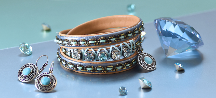 Decorated braid leather cord bracelet with SW crystals
