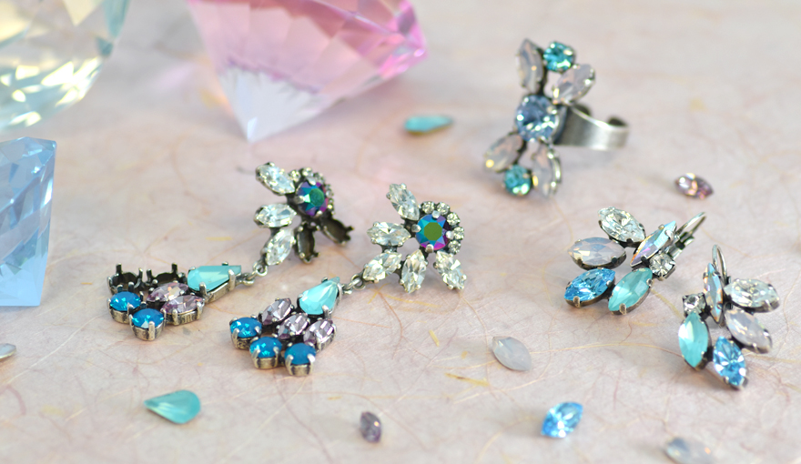 Jewelry bases with colorful leaf shape crystals